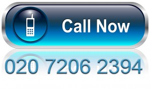 Contact us, call telephone icon, button, blue glossy with shadow